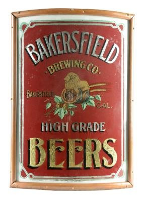 Bakersfield Brewing Reverse Glass Painted Sign.