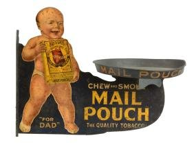 Mail Pouch Tobacco Single Sided Tin Flange Sign.