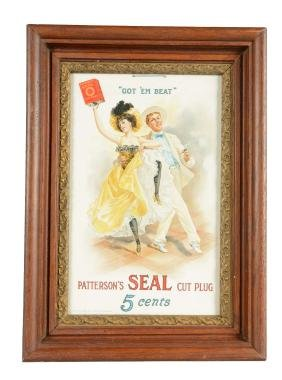 Framed Patterson's Seal Cut Plug Advertisement.
