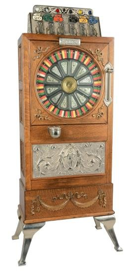 **5¢ Pre-Caille Puck Floor Wheel Upright Slot Machine.