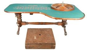 Antique Roulette Wheel And Table With Layout.