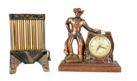 Lot Of 2: Cowboy Clock And Coin Changer.