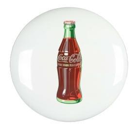 Coca-Cola White Porcelain Button Sign.