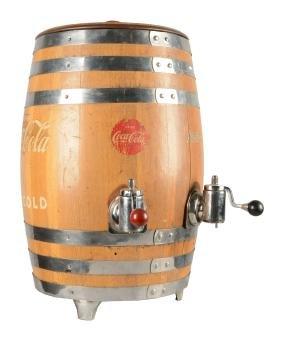 Wooden Coca-Cola Beverage Dispenser Barrel.