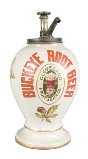 Buckeye Root Beer Ceramic Syrup Dispenser.