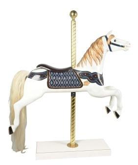 Wood Carousel Horse Figure On Base.