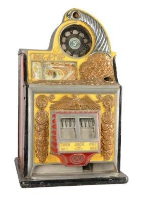 **5¢ Watling Rol-A-Top Twin Jackpot Slot Machine.