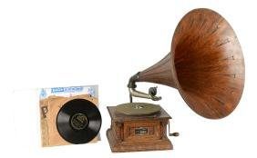 Lot Of 18: Victor Talking Machine With Records.