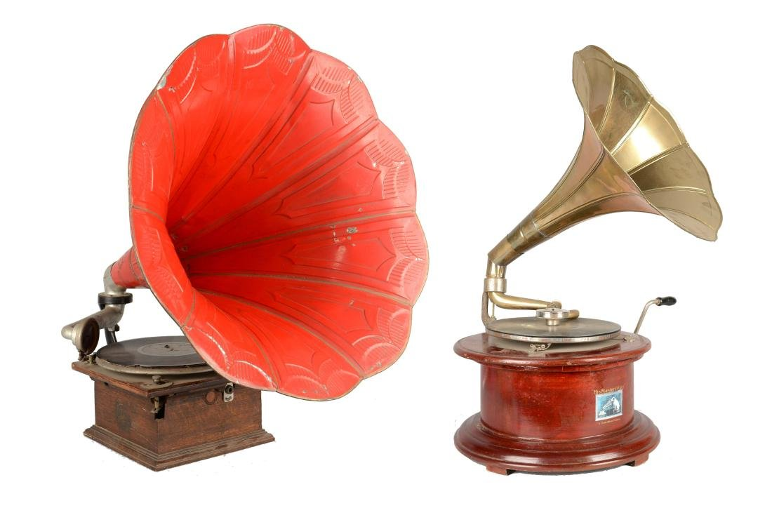 Lot Of 2: Antique Gramophone Players.