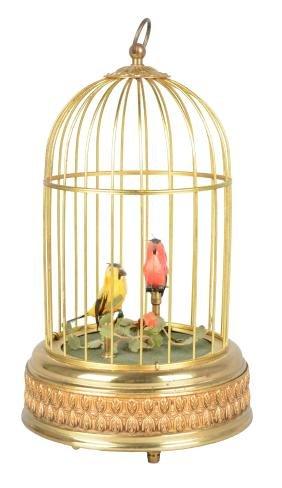 Singing Bird Automaton With Brass Cage.