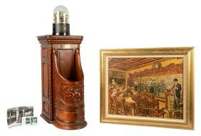 Lot Of 4: Edison Stock Ticker With Stand And Art.