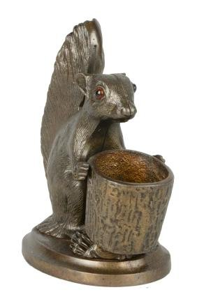 Figural Squirrel Cigar And Match Holder.