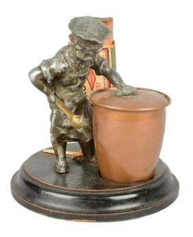 Figural Chef Mechanical Match Holder And Ashtray.