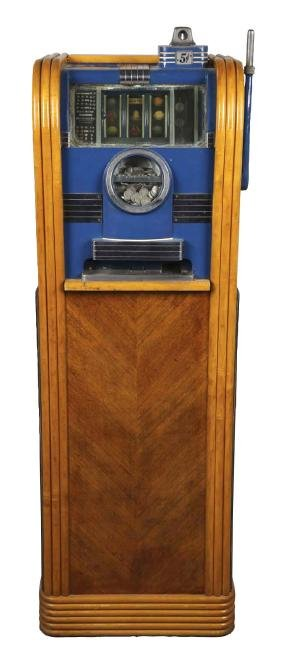 """**5¢ Caille """"The Junior"""" Console Slot Machine."""