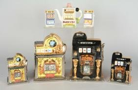 Lot Of 7: Ceramic Slot Machine Items.