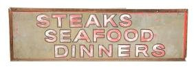 Steaks Seafood Dinners Diner Sign.