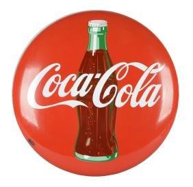 Coca-Cola Red Porcelain Button Sign.