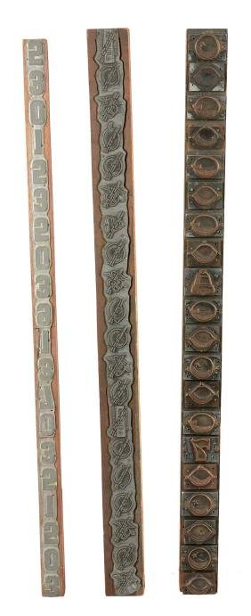 Lot Of 4: Slot Machine Reel Stamps And Machine Arm.