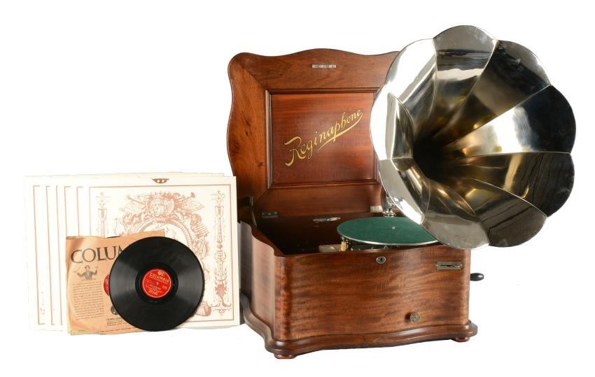 Reginaphone Music Box With Tune Sheets & Phonographs.
