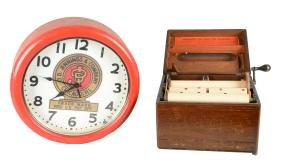 Lot Of 2: Music Box And Clock.