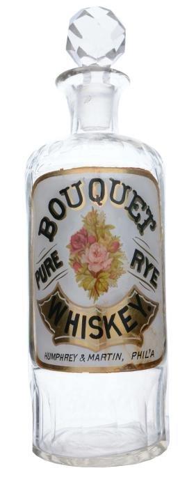 Label Under Glass Whiskey Bottle.