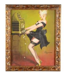 "Gil Evgren ""Jackpot"" Pin-Up Girl Print On Canvas."