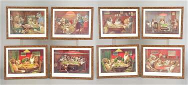 Lot Of 8 Framed Pictures Of Gambling Dogs