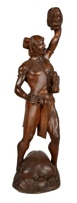 Wood Sculpture Of Tribal Headhunter.