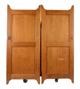 Pair Of Quarter Sawn Oak Doors.
