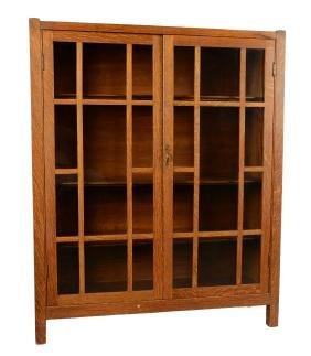 Quarter Sawn Oak Mission Bookcase.