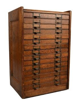 Antique Oak Flat-File Cabinet.