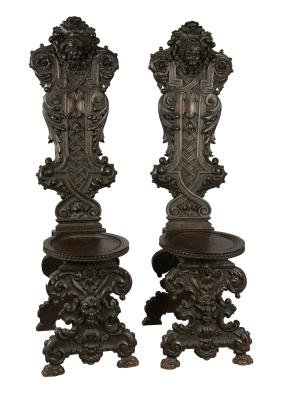 Lot Of 2: Antique Carved Hall Chairs.