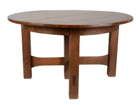 Gustav Stickley 5-Leg Cross-Stretcher Dining Table.