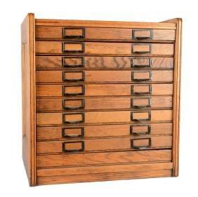 Antique Oak Flat-File Cabinet.