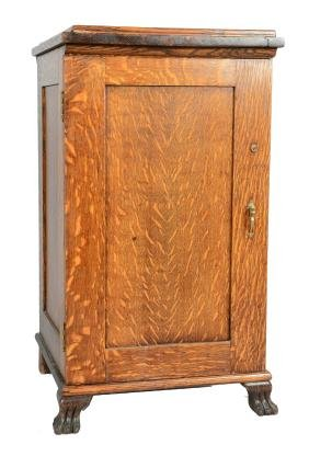 Quarter Sawn Oak Record Cabinet.