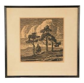 Sandzen Nailhead Woodcut Print.