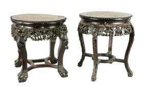 Lot Of 2: Carved Wood And Rose Marble End Tables.