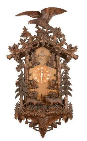 Rare Monumental Ornate Carved Wood Cuckoo Clock.