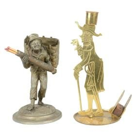 Lot Of 2: Figural Match Holders.