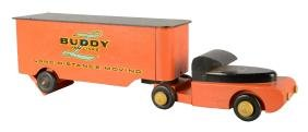 Buddy L Van Lines Wooden Truck With Trailer.