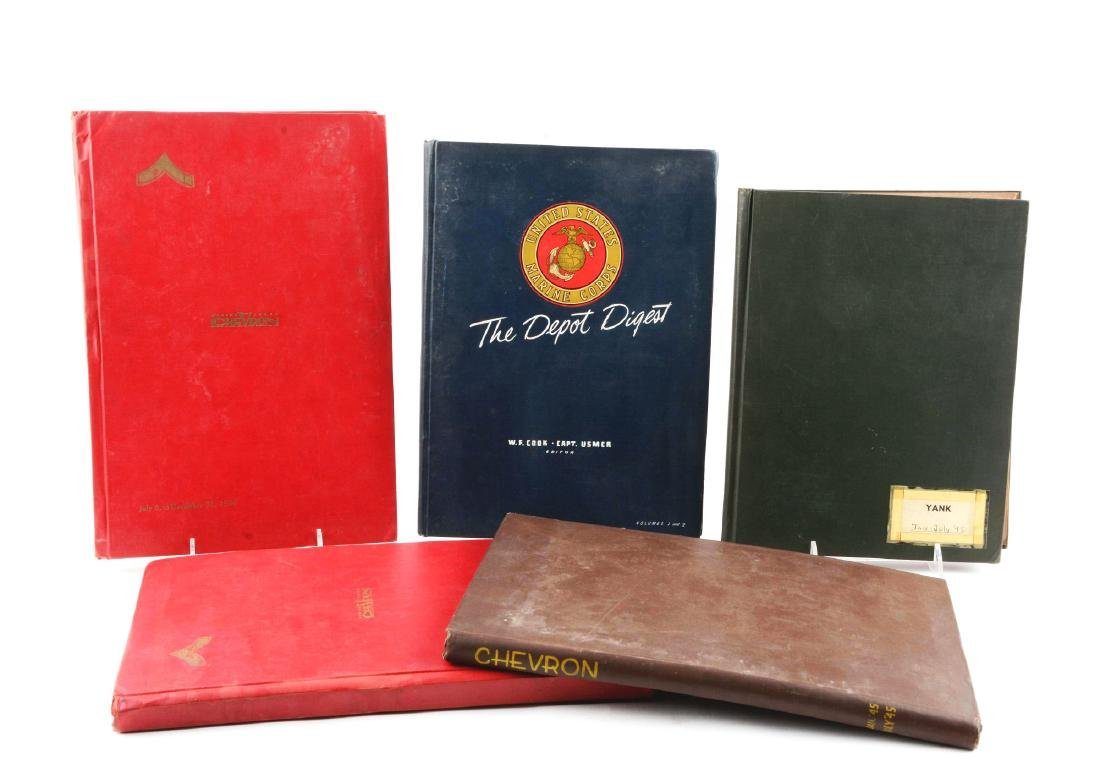 Lot of 5: Bound WWII Marine Military Edition Magazines.