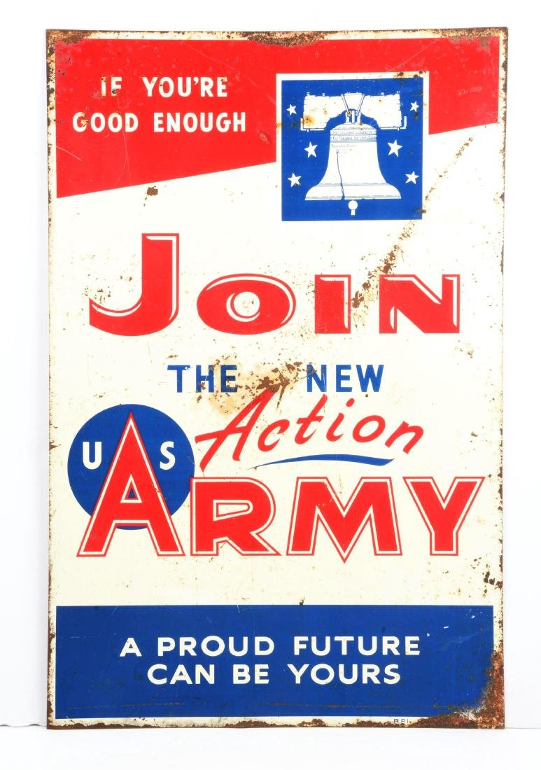 Early Original Double Sided Metal Army Recruiting Sign