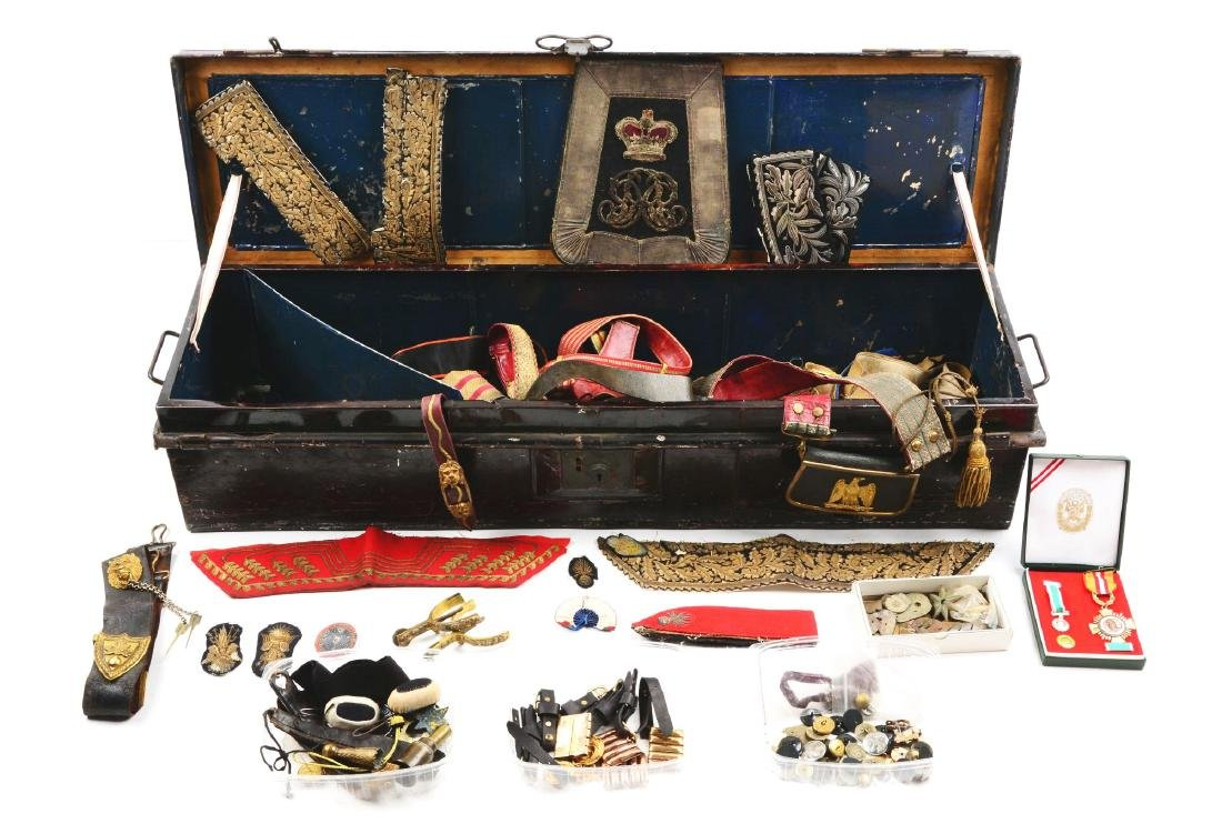 British Officer's Trunk with Sabertache & Period Belts