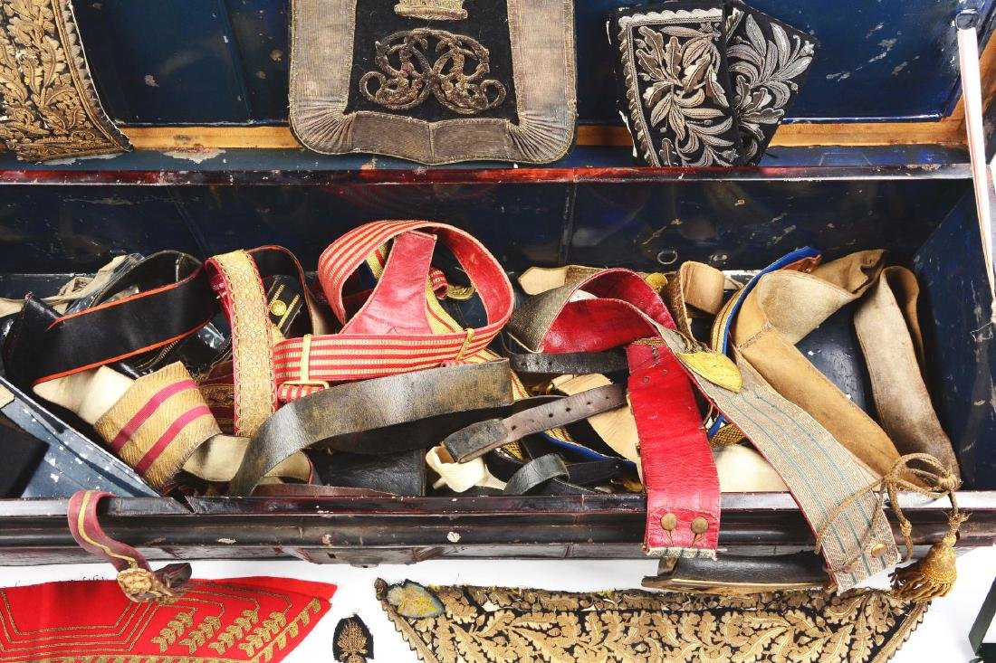 British Officer's Trunk with Sabertache & Period Belts - 5