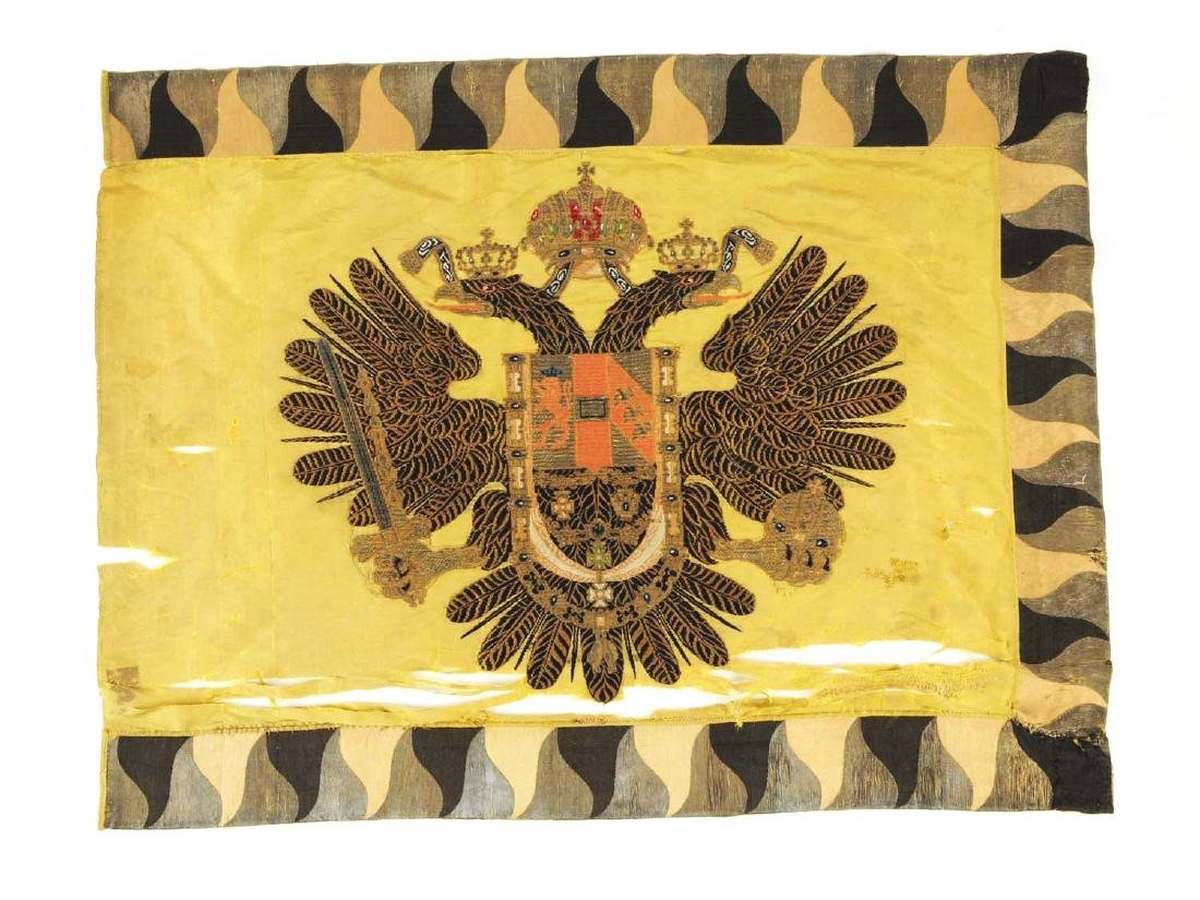 An Extremely Rare Imperial Embroidered Russian Flag.