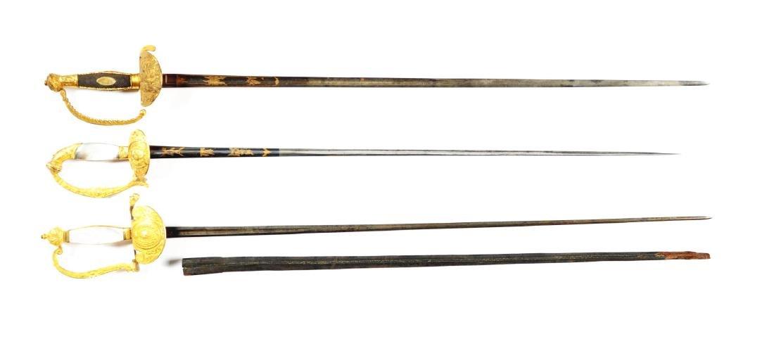 Lot Of 3: Court Swords. - 2