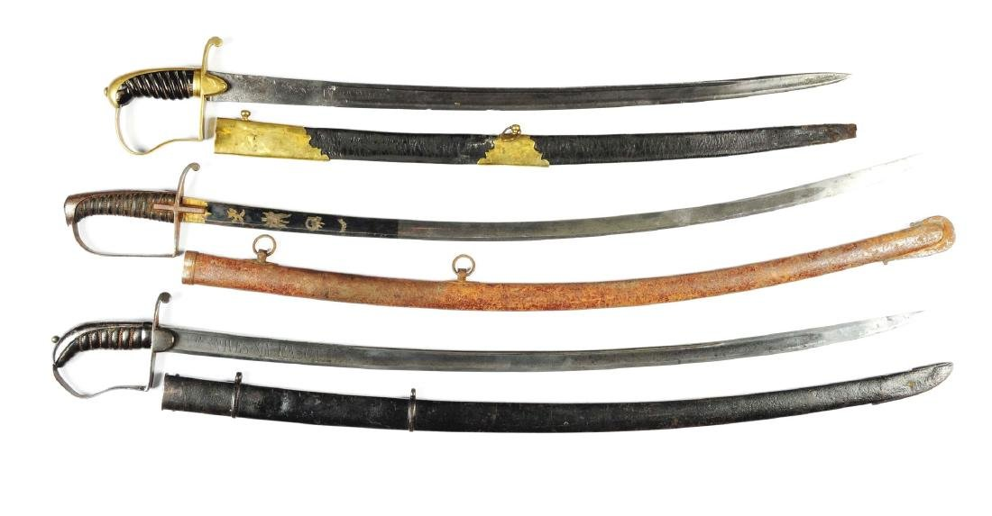Lot Of 3: Continental Sabers With Scabbards.
