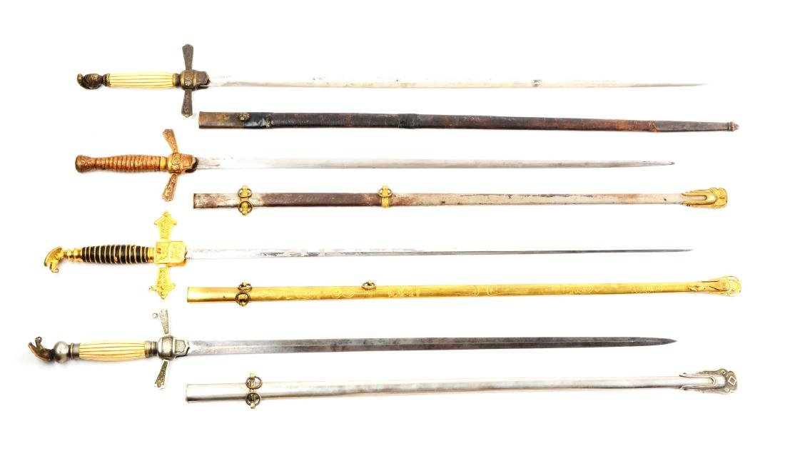 Lot Of 4: U.S. Militia Officer's Swords.