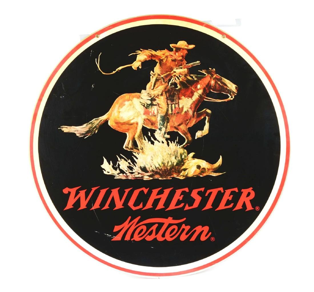 Large Vintage Metal Winchester Western Advertising - 2