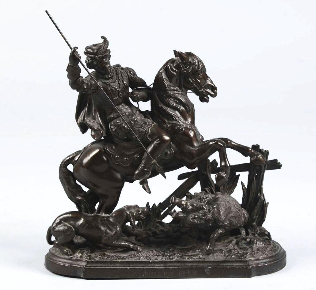 Horseman & Boar Bronze Sculpture.